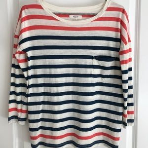 MADEWELL Red, White & Blue Striped 3/4 Sleeve Tee